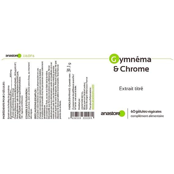 Gimnema y Cromo* 400 mg / 60 cápsulas * Ácido gimnémico 100 mg * Para Diabetes Tipo 1 y Tipo 2 *Fabricado en FRANCIA * Satisfacción o reembolso 100% ...