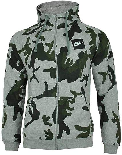 8b7b75a91 Nike Mens Camo Hoody Fleece Hooded Top AOP Club Zip Top Grey AH7019:  Amazon.co.uk: Clothing