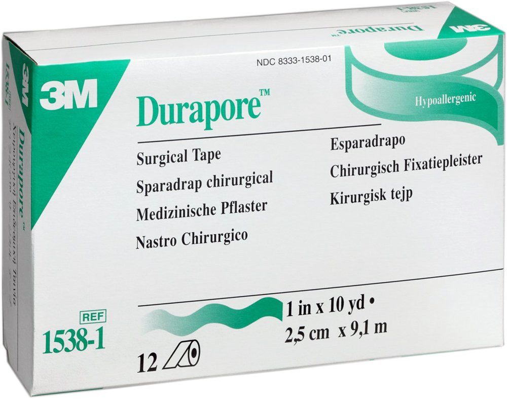 3M Durapore Surgical Tape 1'' x 10 yd Box: 12 rolls