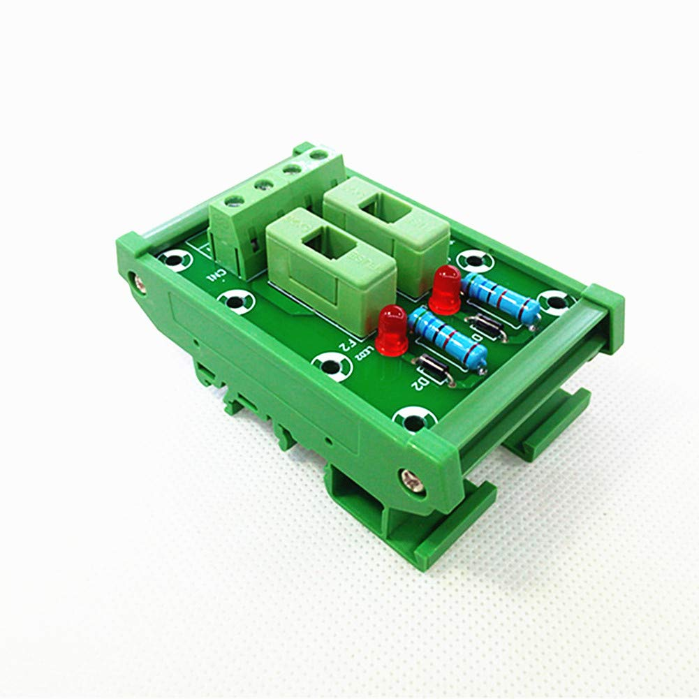 DIN Rail Mount 2 Channels Fuse Module Board,Fuse Holders for 5x20mm(DXL) Tube Fuse.