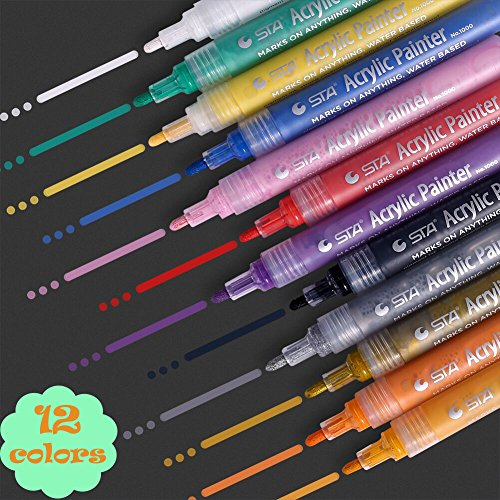 12 Colors Acrylic Paint Marker Pen - Water-based - 2mm Point