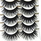Polytree 5 Pairs Black Long Thick Eyelashes Fake Cross Makeup Eye Lash Extension