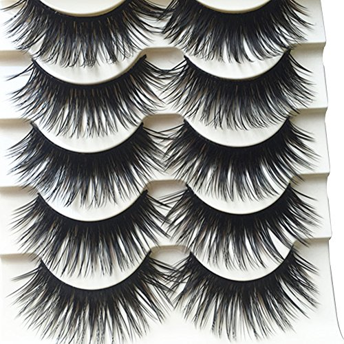 Polytree 5 Pairs Black Long Thick Eyelashes Fake Cross Makeup Eye Lash Extension -