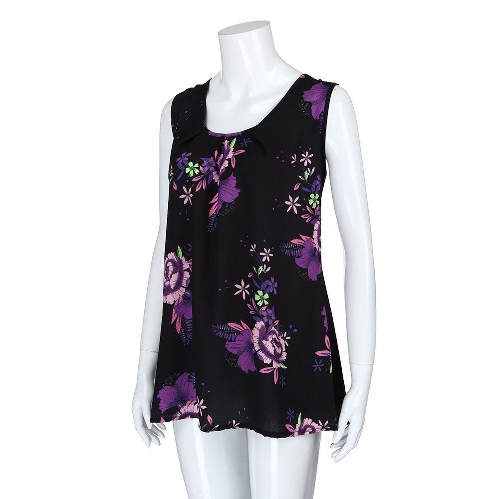 iTLOTL Women Plus Size Print Sleeveless Bandage Tank Vest Blouse Pullover Tops Shirt (US:16/CN:XXXXL, Z-Purple) by iTLOTL (Image #4)