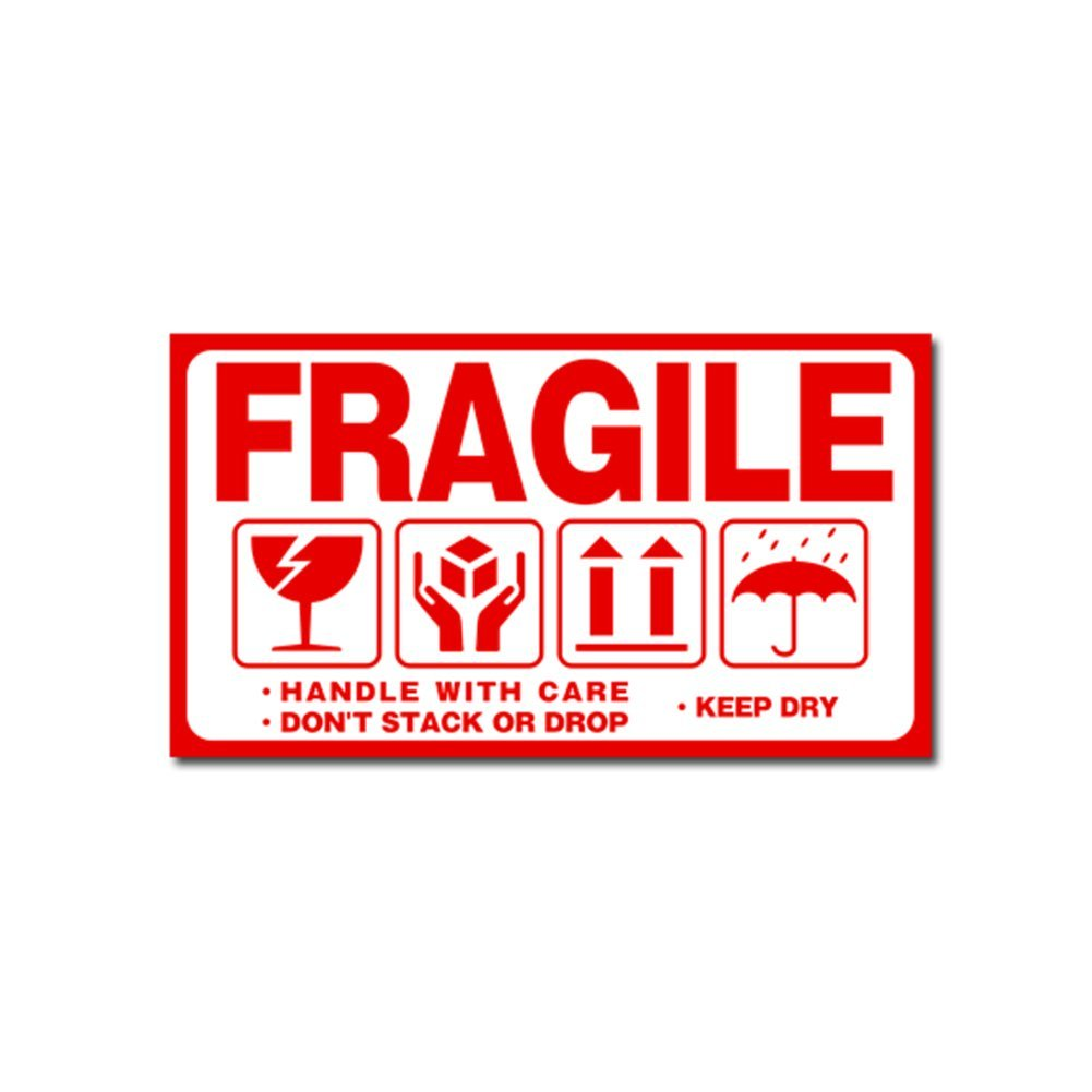 Red Fragile Warning Stickers for Safe Shipping, Please Handle with Care/Fragile/Thank You, Fragile/Handle with Care/Don't Stack Or Drop, 100 Fragile Shipping Stickers, Moving Labels(4#) Woopower