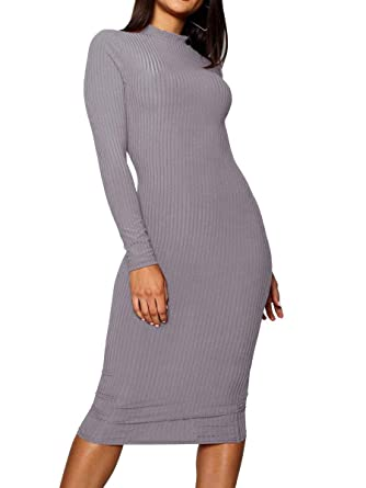 bfe24f6136 ZileZile Women s Winter Casual Bodycon Slim Fit Ribbed Turtleneck Long  Sleeve Midi Sweater Dress Grey