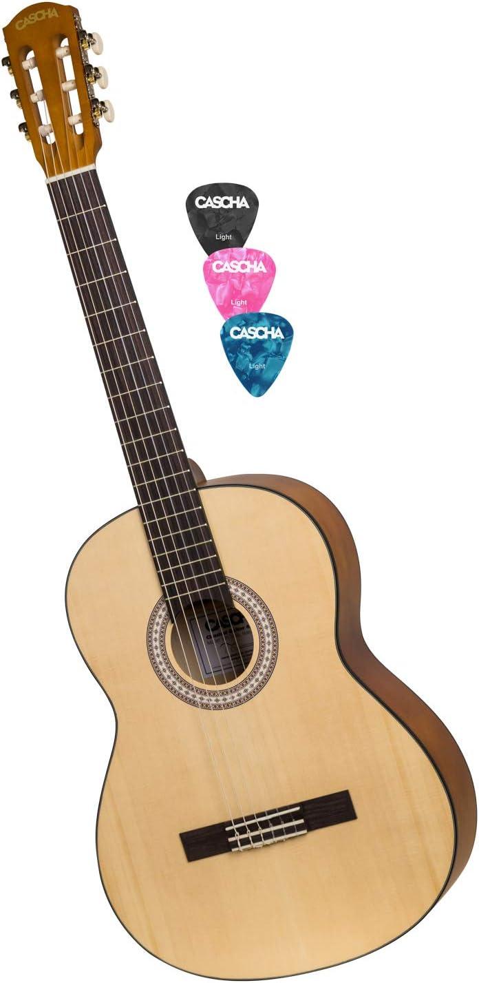CASCHA Student Series 4/4 Guitarra clásica, guitarra clásica para principiantes y niños a partir de 10 años, guitarra acústica, guitarra clásica, cuerdas de nylon, incluyendo 3 picos
