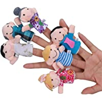 Heyuni. 6 Pcs Finger Puppets Plush Cloth Toy Baby Bed Stories Helper Doll