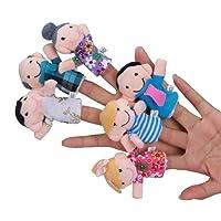 Heyuni. 6 Pcs Finger Puppets Plush Cloth Toy Baby Bed Stories Helper Doll
