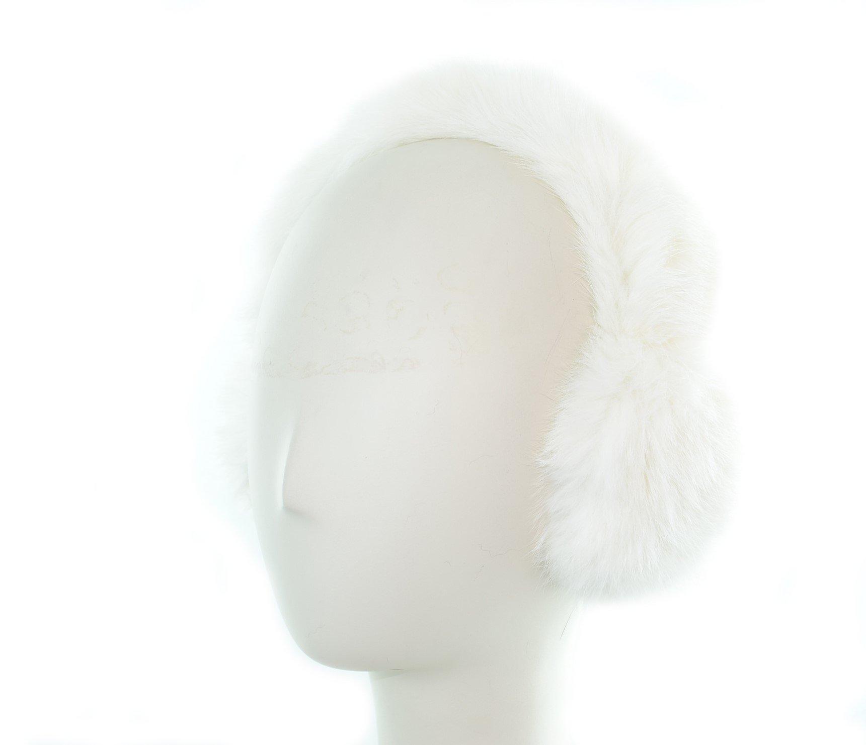 Surell Genuine White Soft Rabbit Fur Earmuffs with All Fur Non Adjustable All Fur Head Band - Winter Fashion Ear Warmers - Perfect Elegant Women's Luxury Gift