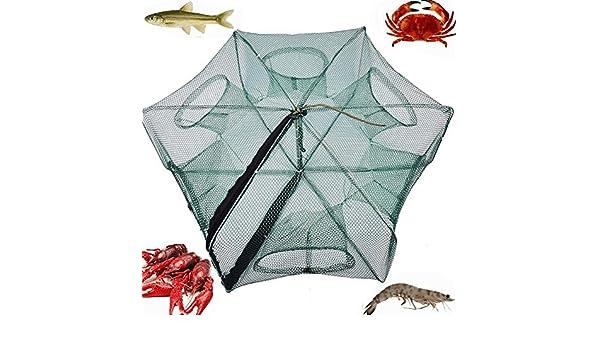 dise/ño de cangrejos Color Negro Red de Pesca port/átil plegada para Pesca de Peces camar/ón y Cangrejo GeKLok