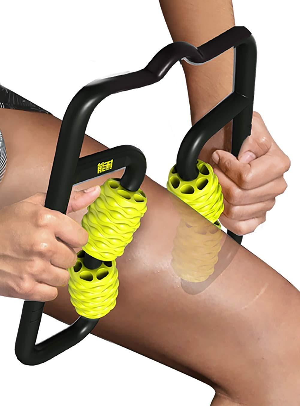 4-Point Foam Roller Massager   Multi-Functional, Pressure Point Massage Tool    2019 Brand-New 4-Point Foam Roller Massager    (Yellow)