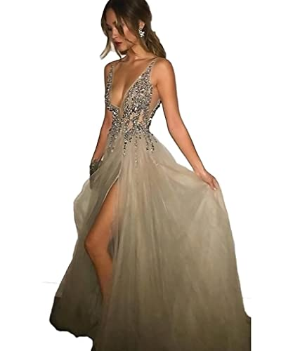 2017 Sexy Gray Prom Dresses With Deep V Neck Sequins Tulle and Lace Sex High Split Long Evening Dress Party Dresses