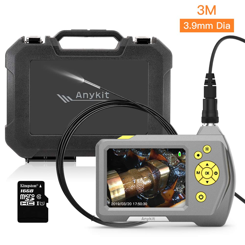 Image of Borescopes Anykit 3.9mm Dia. Micro Inspection Camera, Industrial Endoscope Borescope with 3.5' Color LCD Screen Waterproof Scope Camera with 6 Adjustable LED Lights, Tool Box (0.15 inch/9.8ft)