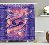 Ambesonne Animal Decor Collection, Chinese Dragon Figure with Ying Yang Signs Ethnic Patterns Asian Arts Meditation Themed, Polyester Fabric Bathroom Shower Curtain Set with Hooks, Purple Red