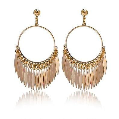 5773b0951 Amazon.com: palettei Fashion Bohemian Ethnic Fringed Tassel Earrings For  Women Golden Round Circle Ring Dangle Hanging Drop Earrings Jewelry (GOLD):  Jewelry