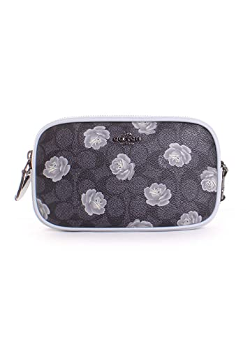 297d64f748ed COACH Women s Sadie Crossbody Clutch in Signature Rose Print Dk Charcoal  Sky One Size  Handbags  Amazon.com