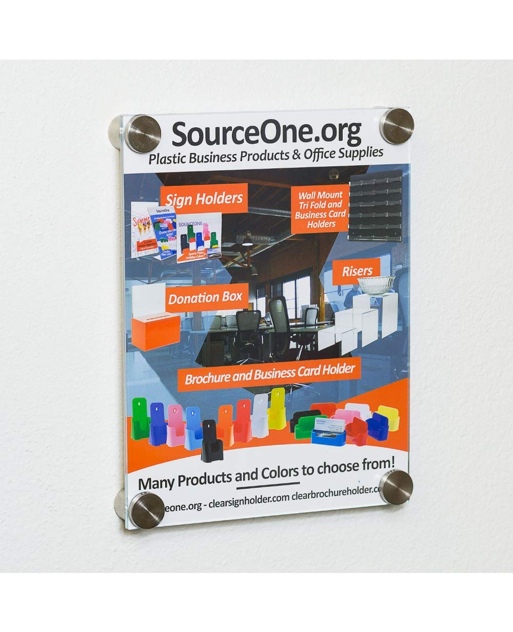 SOURCEONE.ORG Source One Acrylic Sign Holder with Standoff, Clear or Frosted