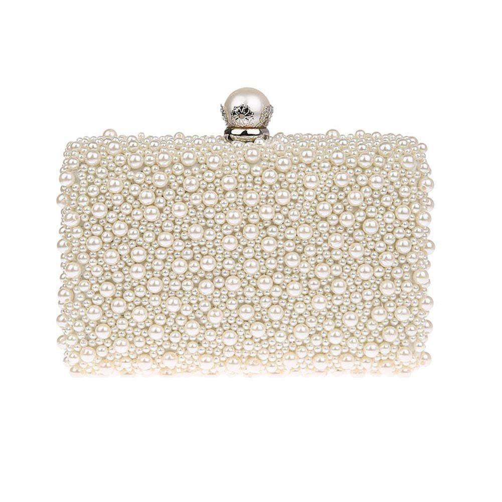 ZAKIA Womens Faux Pearl Beaded Evening Clutch Bag Bridal Wedding Handbag Party Embedded Frame Purse (Cream White)
