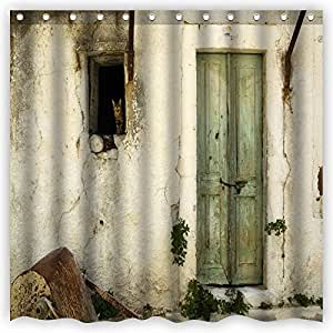 Atwtow Vintage Old Wooden Barn Door Cat Wall Country Style Beautiful Pattern Bathroom Shower Curtain,72-Inch by 72-Inch,Unique and Generic Waterproof Polyester Fabric Decorative Bath Curtain Designs