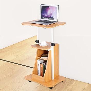 GOTOTOP Mesa Laptop Mesa para Notebook PC de Madera con 4 Ruedas giratorias, Ajustable en Altura: Amazon.es: Hogar