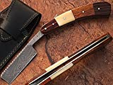 Custom Made Damascus Steel Straight Razor Camel Bone & Wood Handle
