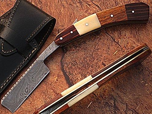 Custom Made Damascus Steel Straight Razor Camel Bone & Wood Handle by Damascus