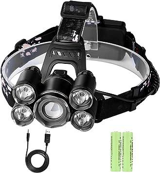 Linterna Frontal LED Recargable Alta Potencia Rango de Iluminación ...