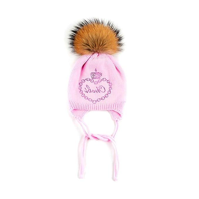 Aooaz Cappello Bambini Cappelli Invernali in Lana Scorpion Hair Ball  Pendant Crown Heart Print Berretti Bambini Rosaregalo di Natale  Amazon.it   ... 4ed20a758a3d