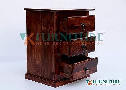 Vk Furniture Sheesham Wood Bedside Table For Bedroom Wooden Side End Table 3 Drawer Storage Teak Brown Finish