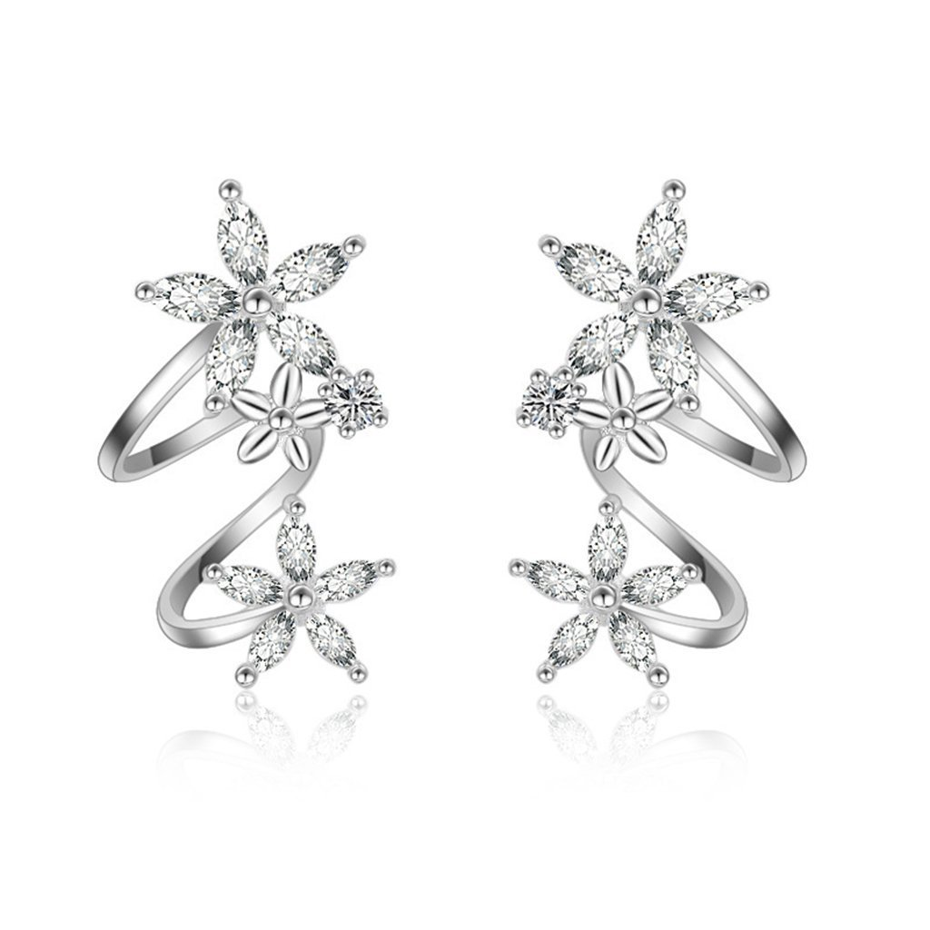 Orris Sterling Silver Flower Fariry Style Ear Cuff Wrap Clip Stud Set Earring (For Pierced Ear)