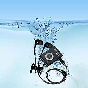 SWMIUSK Waterproof MP3 Player Built-in 8GB Swimming Diving Sports with Waterproof Headphones Players Support FM Radio and Shuffle Feature Perfect Swimming Companion (Black)