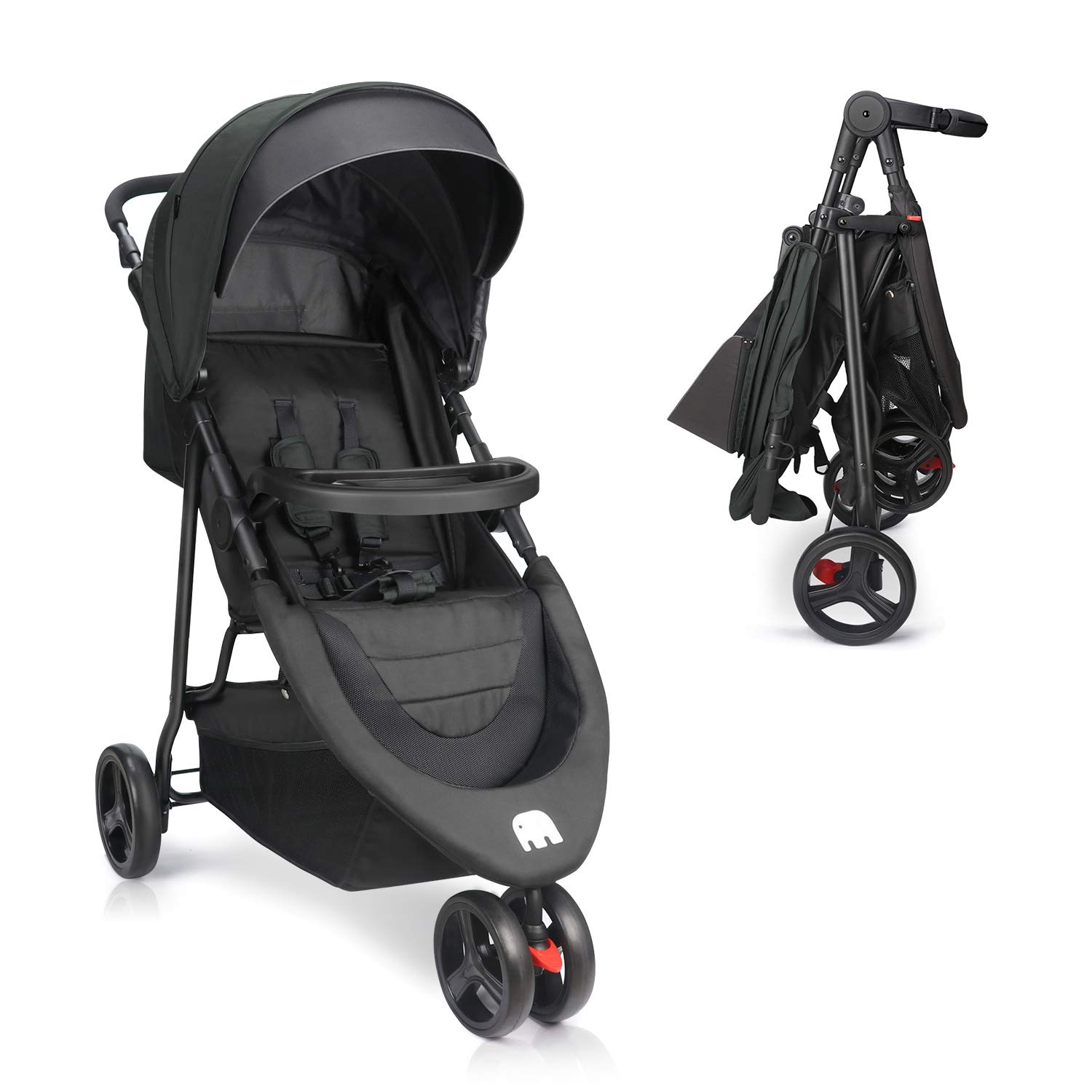 Baby Stroller, Meinkind Jogging Stroller Foldable Lightweight Portable Stroller 3 Wheels Baby Jogger Stroller with Canopy, 5-Point Safety Belt, Storage Basket, Snack Tray, Up to 44lbs Toddler