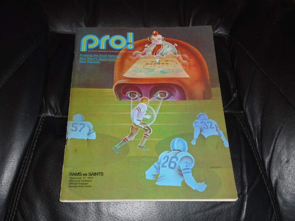 1972 NEW ORLEANS SAINTS AT LOS ANGELES RAMS NFL FOOTBALL PROGRAM EX MINT