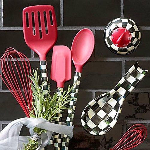 MacKenzie-Childs Silicone Large Whisk - Stainless Steel Body with Enamel Courtly Check Print and Silicone Wire Ballon, Red - Cooking Utensil