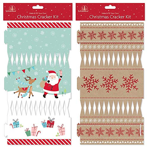 The Home Fusion Company Make Your Own DIY Christmas Crackers Gold Snowflakes Or Cute Charactors to Personalise Xmas