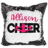 Personalized Cheerleader Pillow Decorative Reversible Sequins (White/Black)