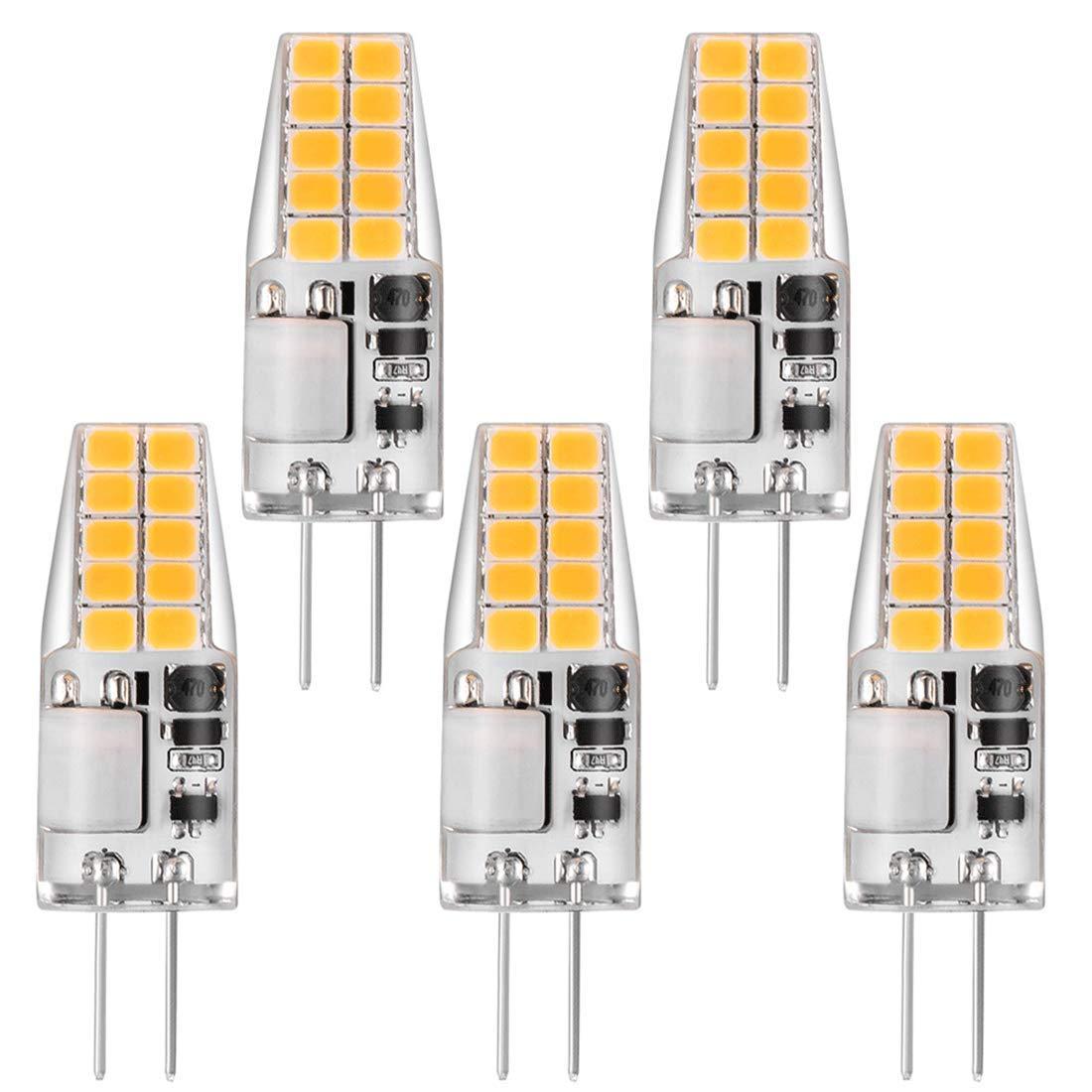 Bonlux 5-Packs 3W 12V LED G4 Bi-pin Ampoule Blanc Chaud 3000K 12 PCS SMD2835 LED G4 Capsule 25W Ampoule halog/ène de rechange
