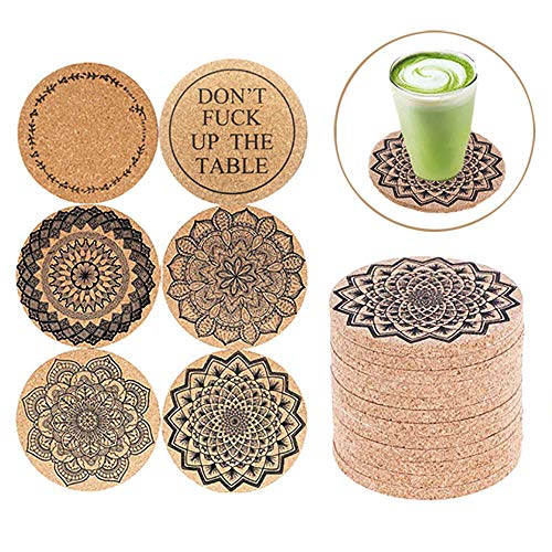 Kalolary Absorbent Coasters for Drinks, 4 Pack Ceramic Stone Coaster with Cork Back, Bohemia Style-Prevent Furniture from Dirty and Scratched, Suitable for Kinds of Mugs and Cups (Sustainable Room Furniture Living)