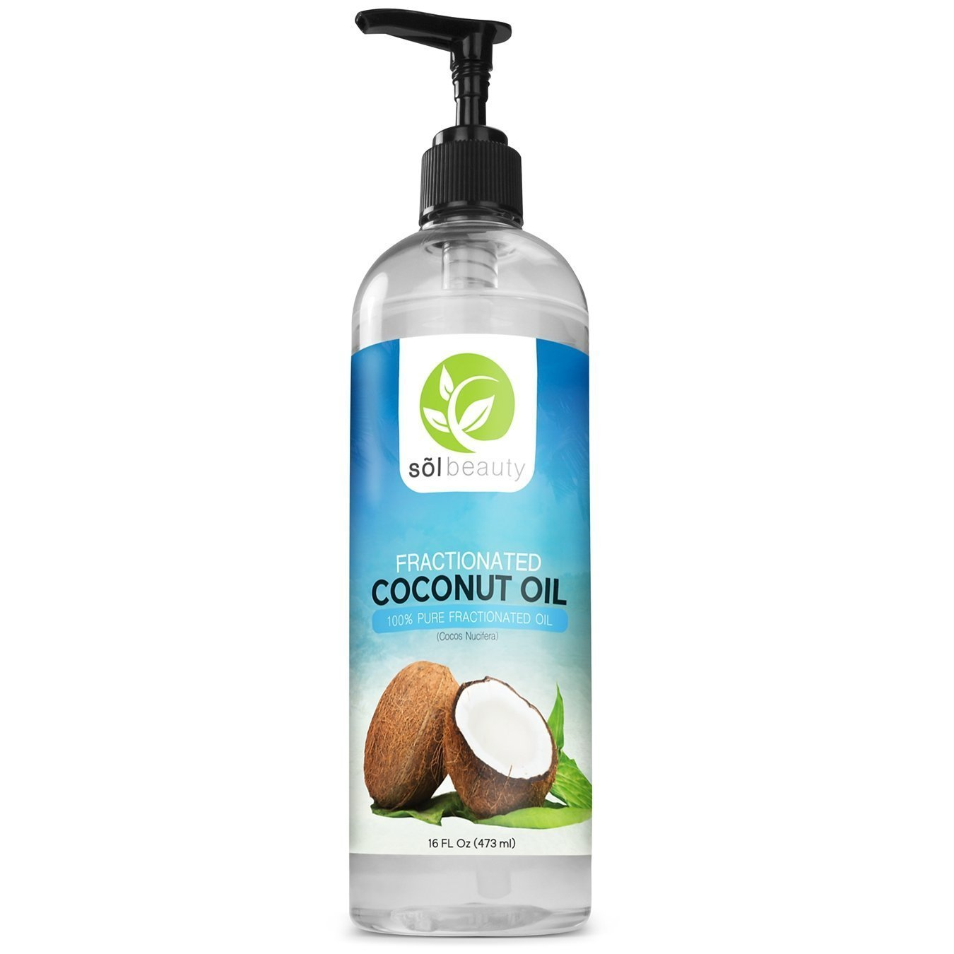 Sol Beauty Fractionated Coconut Oil For Aromatherapy Relaxing Massage Premium Therapeutic Grade - 16oz Cold Pressed Liquid - Moisturizer, Softener, Hair & Skin Care Benifits