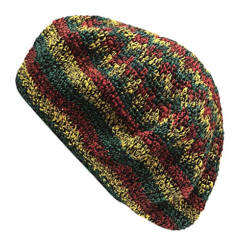 Inspirit Arts Tam Berets Hat Heathered Reggae Pinwheel Crochet Knit Slouchy Dreadlock Cap