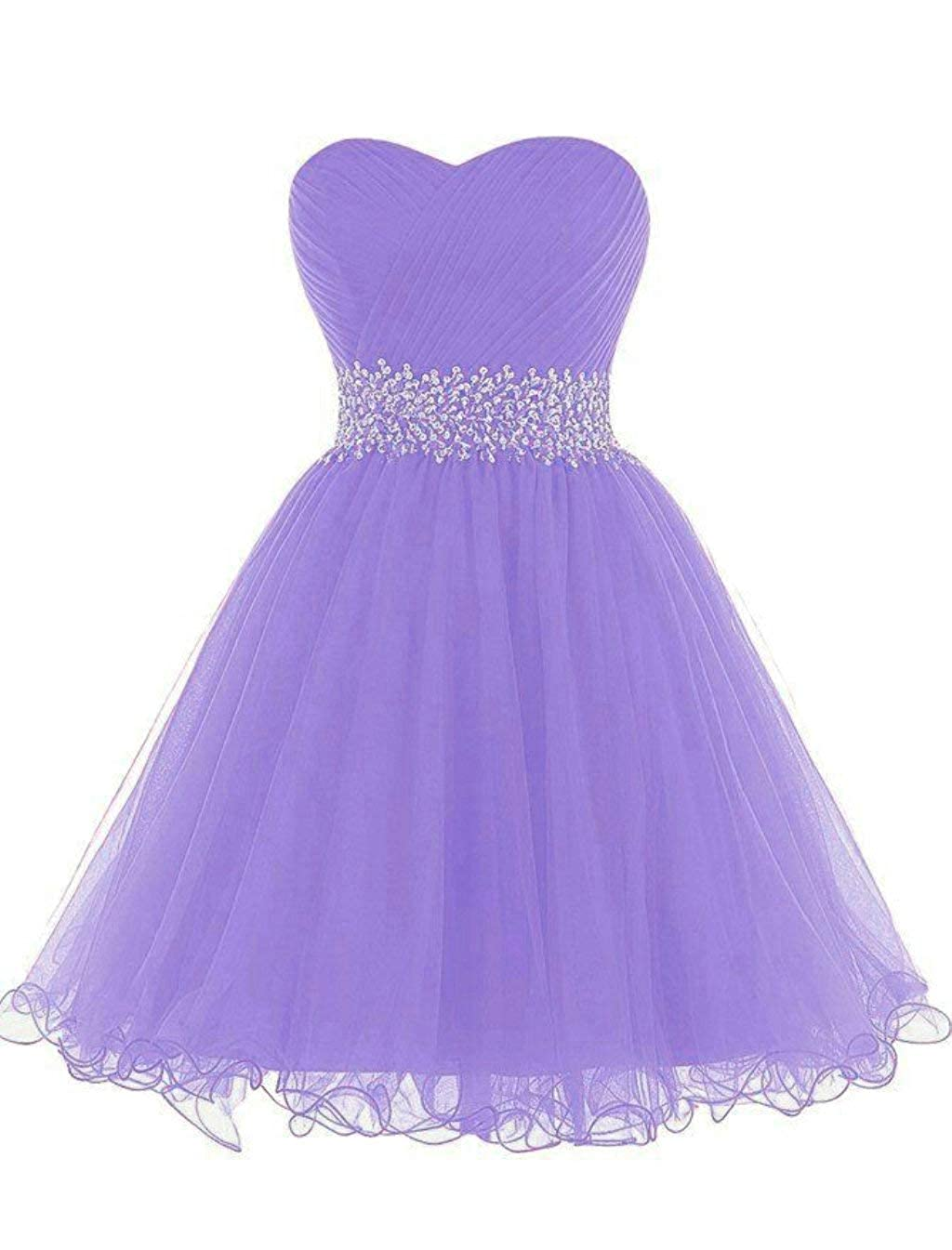 Lavender Vantexi Women's Beaded Tulle Short Prom Bridesmaid Dress Formal Party Gown