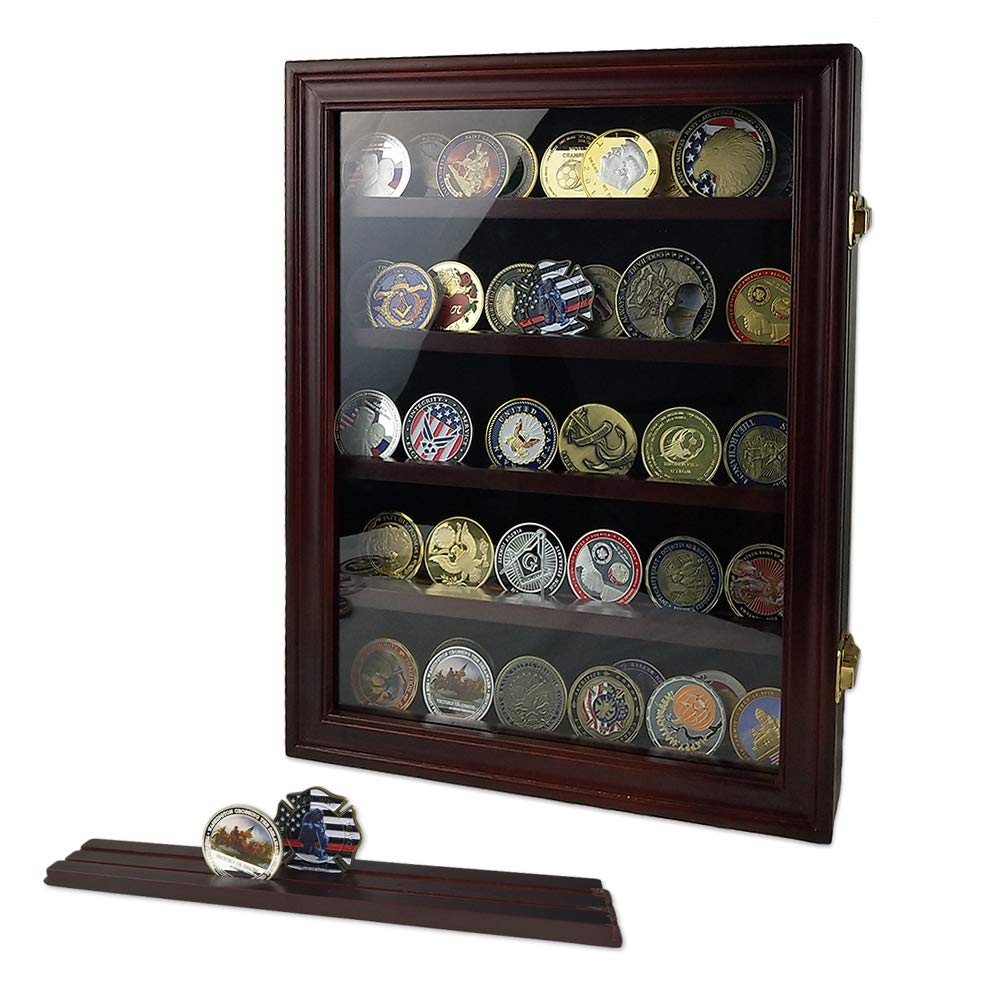 Indeep Military Challenge Coin Display Case Cabinet Rack Holder Shadow Box with Glass Door (Mahogany Finish) by Indeep