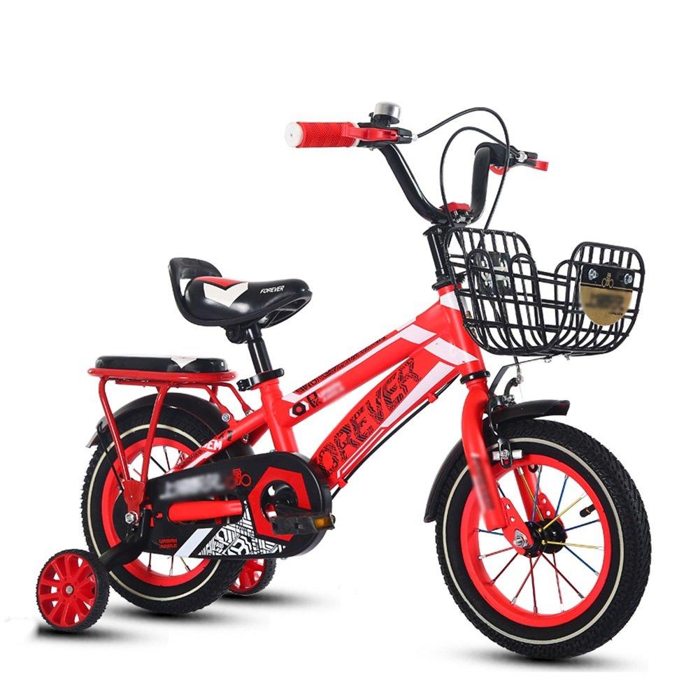子供の自転車少年少女3-10歳の小学校の子供の自転車ベビーキャリッジペダル自転車14 16 18オレンジレッドブルー B07DW1MW3X 18 inch|赤 赤 18 inch