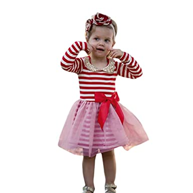 Bebé niña manga larga tutú tul rayas princesa fiesta Bowknot ...
