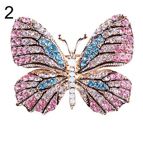 (Brooch Pin,Maserfaliw Jewelry Brooch Breastpin,Colorful Butterfly Rhinestone Brooch Pin Wedding Bridal Scarf Collar Jewelry - 2#)