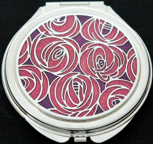 Compact Mirror in a Mackintosh Roses Design. (Red)
