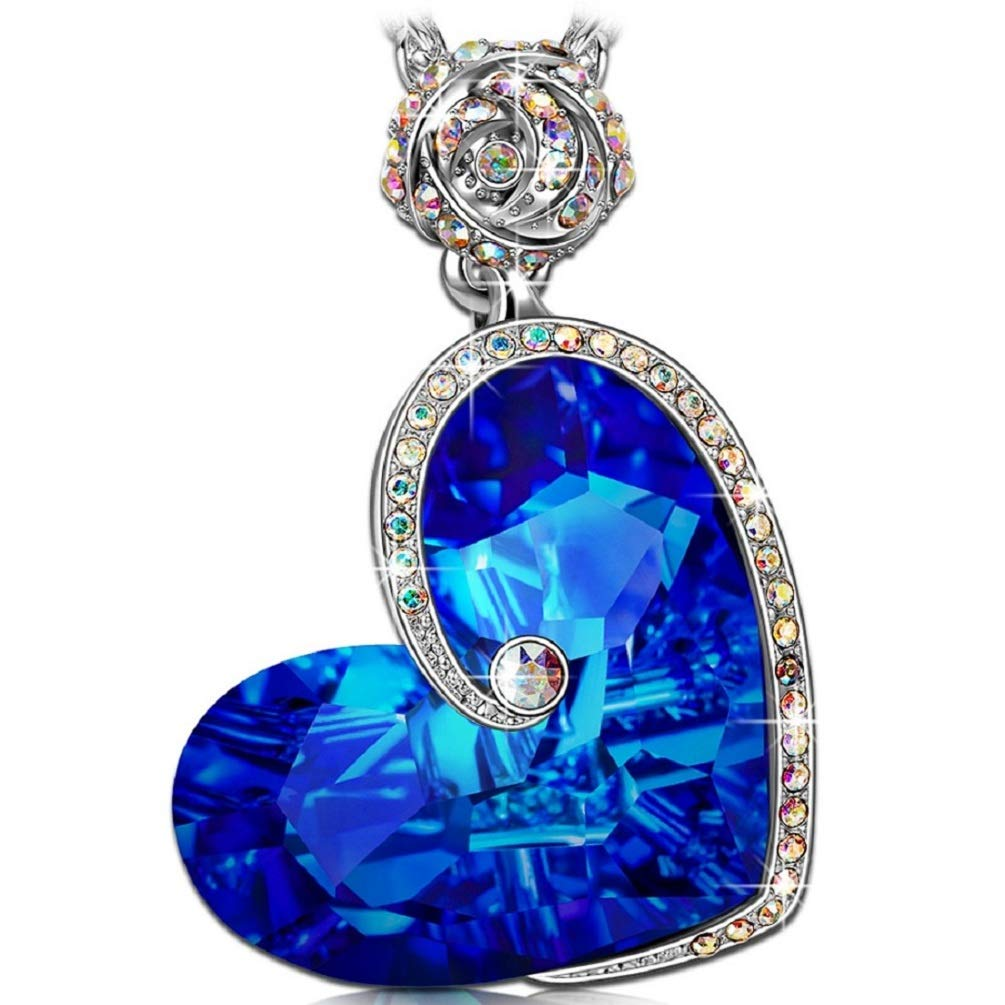 J.NINA Heart Necklaces for women Sapphire Pendant Blue Swarovski Crystals Rose Flower Jewelry for women Back to School Anniversary Birthday Gifts for Daughter Lover Niece Wife Girlfriend Sister Friend