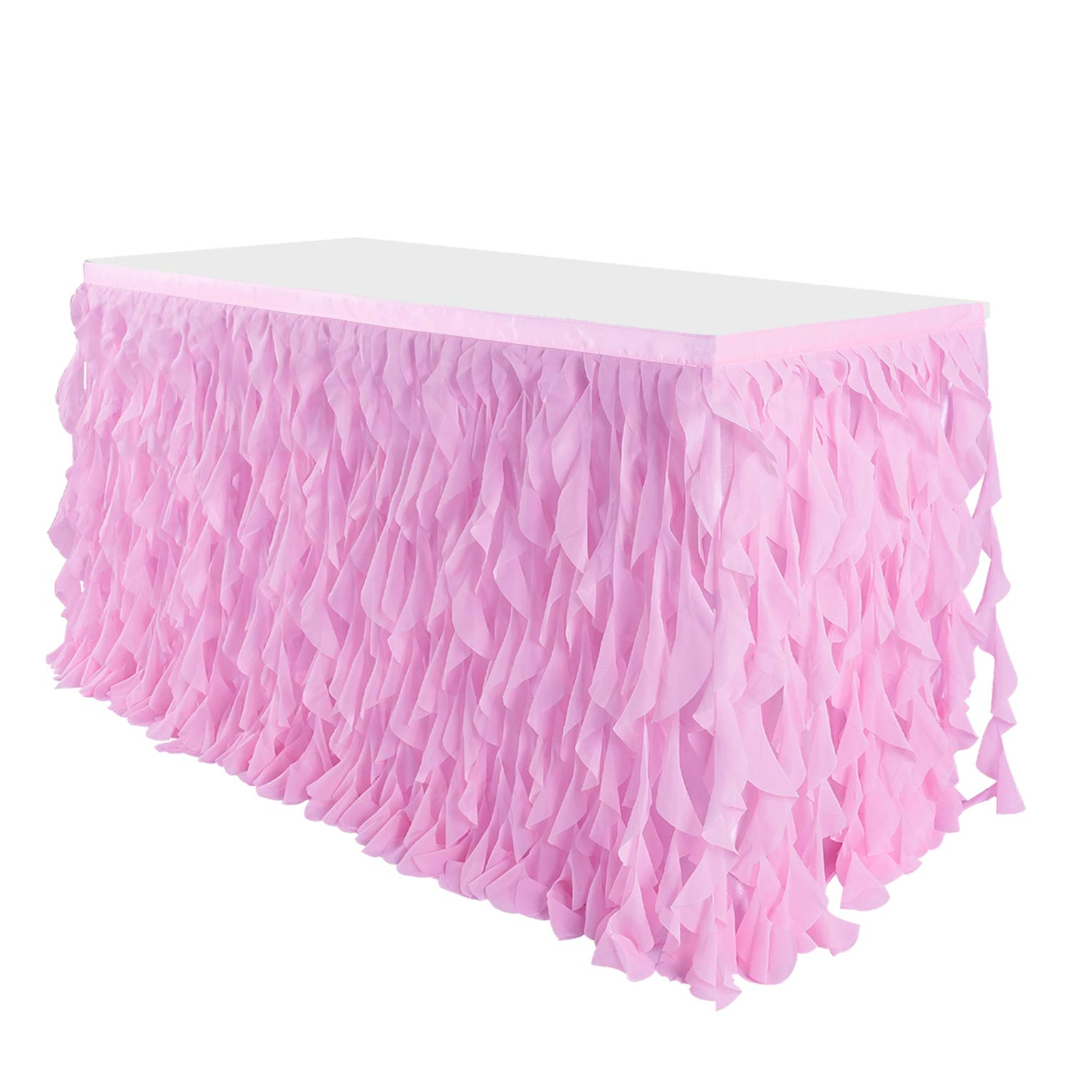 Leegleri 6 ft Pink Curly Willow Table Skirt Tulle Ruffle Table Skirt for Rectangle Table or Round Table,Tutu Table Skirt for Baby Shower,Wedding,Birthday Party (L 6(ft) H 30in) by leegleri