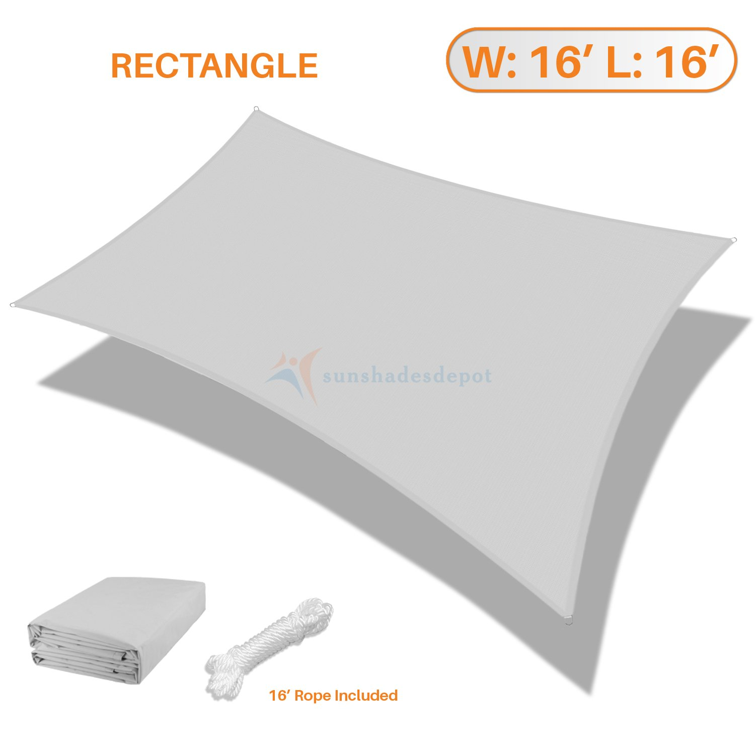 Sunshades Depot 16' x 16' Square Waterproof Knitted Shade Sail Curved Edge Light Gray/Light Grey 220 GSM UV Block Shade Fabric Pergola Carport Canopy Replacement Awning Customize Available